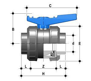 Vanne piscine coller 50 mm pvc pression fip pvc for Vanne multifonction piscine
