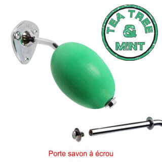 Savon vert rotatif ''Tea Tree and Mint'' Provendi + porte-savon chromé écrou