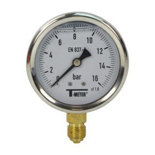 Manomètre inox - Insert laiton - 0-16 bars ø 63 - 1/4'' - Radial /  Glycérine
