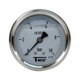 Manomètre inox - Insert laiton - 0-10 bars ø 63 - 1/4'' - Axial /  Glycérine