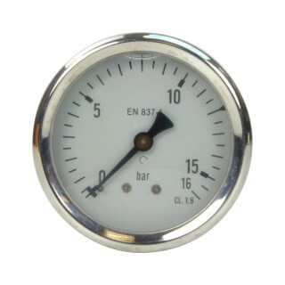 Manomètre inox - Insert laiton - 0-16 bars ø 63 - 1/4'' - Axial /  Glycérine