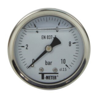 Manomètre inox - Insert laiton - 0-10 bars ø 50 - 1/4'' - Axial /  Glycérine