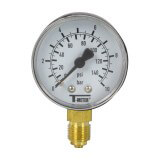 Manomètre plastique - Insert laiton - 0-10 bars ø50 - 1/4'' - Radial / sec