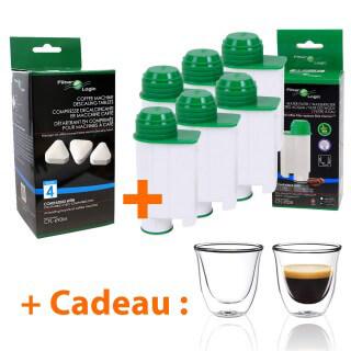 Filtre à eau compatible Saeco Intenza+ + Détartrant + Tasses à café offertes