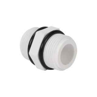 Mamelon double MM - Mâle fileté 3/4'' - PVC blanc avec joint