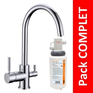 Robinet 3 voies Biscayne Chrome + Kit de filtration QCF-3001/321 - PROMO