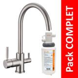 Robinet 3 voies Biscayne Nickel brossé + Kit de filtration QCF-3001/321 - PROMO