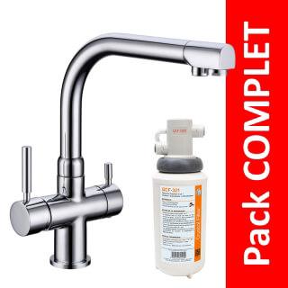 Robinet 3 voies Denali Chrome + Kit de filtration QCF-3001/321 - PROMO