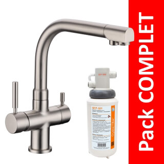 Robinet 3 voies Denali Nickel brossé + Kit de filtration QCF-3001/321 - PROMO