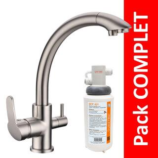 Robinet 3 voies Everglades Nickel brossé + Kit de filtration QCF-3001/321 - PROMO