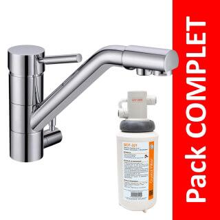 Robinet 3 voies Samoa Chrome + Kit de filtration QCF-3001/321 - PROMO