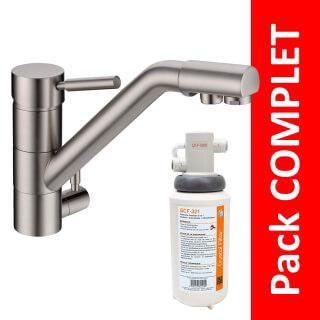 Robinet 3 voies Samoa Nickel brossé + Kit de filtration QCF-3001/321 - PROMO