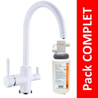 Robinet 3 voies Biscayne Blanc + Kit de filtration QCF-3001/321 - PROMO