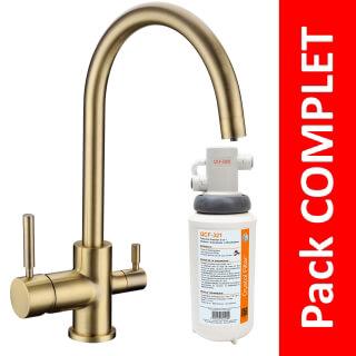 Robinet 3 voies Biscayne Bronze + Kit de filtration QCF-3001/321 - PROMO