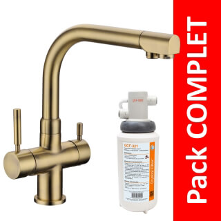 Robinet 3 voies Denali Bronze + Kit de filtration QCF-3001/321 - PROMO