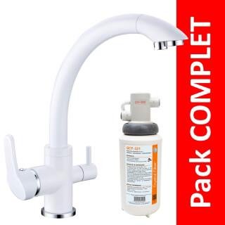 Robinet 3 voies Everglades Blanc + Kit de filtration QCF-3001/321 - PROMO