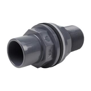 Traversée de réservoir - 25/20 mm  - Mâle/Femelle à coller - Filetée 3/4'' - PVC Pression
