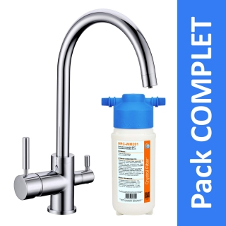 Robinet 3 voies Biscayne Chrome + Kit de filtration HRC-WM2000/201