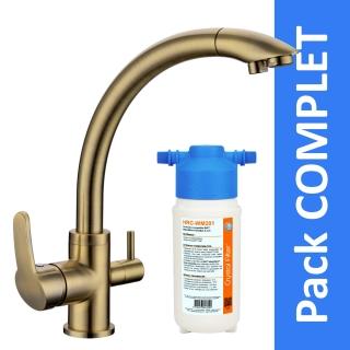 Robinet 3 voies Everglades Bronze + Kit de filtration HRC-WM2000/201