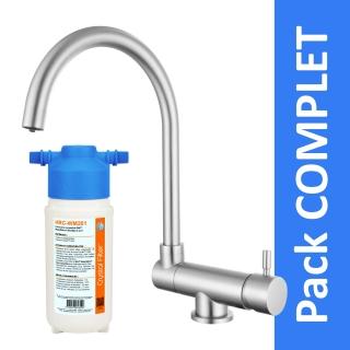 Robinet 3 voies rabattable Arches Nickel Brossé + Kit de filtration HRC-WM2000/201
