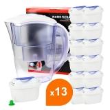 Carafe filtrante blanche + 13 cartouches filtrantes compatibles Brita Maxtra