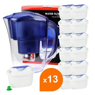 Carafe filtrante bleue + 13 cartouches filtrantes compatibles Brita® Maxtra+