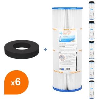 Filtre et joint SPCF-200 - Crystal Filter® - Compatible Waterair® Escawat® (lot de 6) - Cartouche filtre piscine