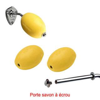 Lot porte-savon chromé + 3 savons jaunes rotatifs écoliers Provendi