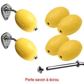 Lot 6 savons jaunes rotatifs écoliers + 2 porte-savons chromés  à écrou