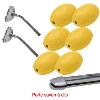 Savon jaune rotatif écolier Provendi (lot de 6) + 2 porte-savons chromés à clip