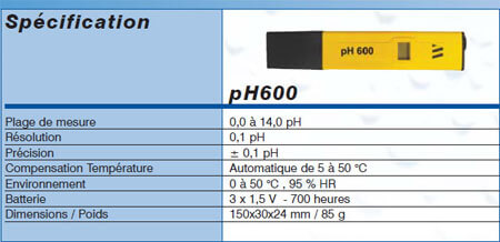 Testeur pH avec 1 point de calibration, +-0.2pH