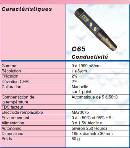 Testeur de conductivimetre waterproof avec compensation automatique de TC