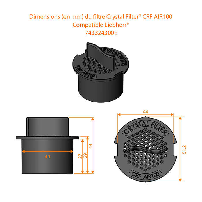 Dimensions du filtre CRF AIR100 - Crystal Filter® - Compatible Liebherr® :