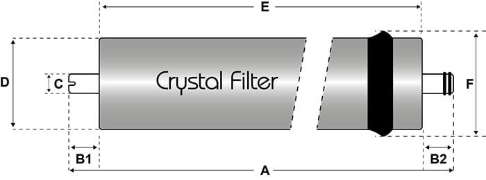 Dimensions membrane Crystal Filter® RO-CLG-50 compatible Culligan AC30